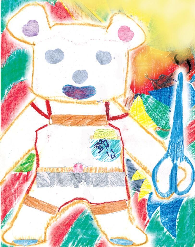 從小陪伴他卻即將送人的小熊,也用拓圖留下回憶