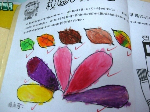 這次課程的重點是顏色,因此只要求孩子儘量去找不同的葉子或花的顏色,不要求描繪植物的外型,免得模糊了焦點